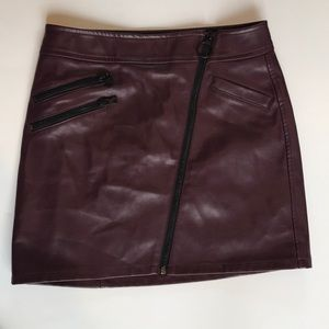 Express Maroon faux leather skirt.